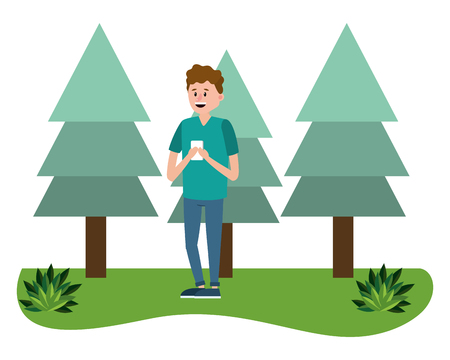 young man using smartphone device at nature park cartoon vector illustration graphic design Stock Illustratie