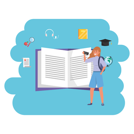 Online education millennial young student open book search career graduation interactive vector illustration graphic design