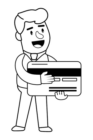 Consumer banking operations happy jovial smiling holding credit card client isolated black and white vector illustration graphic design