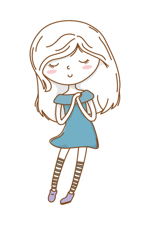 Cute girl cartoon stylish hairstyle nice outfit clothes blushing dress hopeful isolated vector illustration graphic design  イラスト・ベクター素材