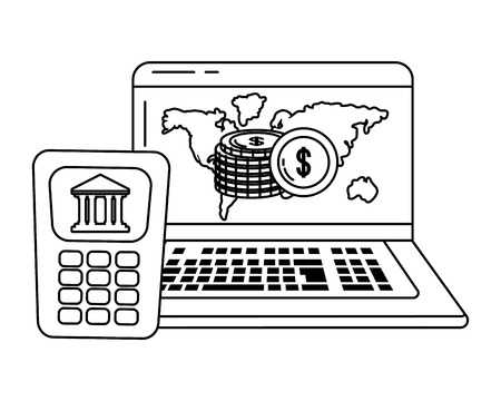 Digital banking services online tools worldwide laptop screen black and white vector illustration graphic design