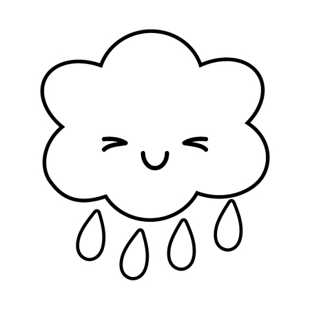cloud raining icon cartoon black and white vector illustration graphic design