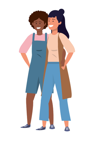 Millennial couple together hanging out stylish overalls and vest vector illustration graphic design
