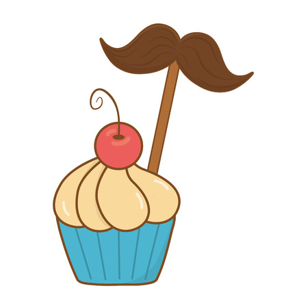 muffin with moustache icon cartoon vector illustration graphic design