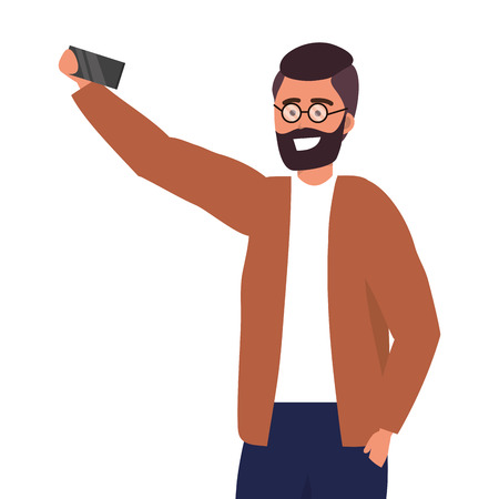 Millennial person stylish outfit taking selfie texting bearded glasses portrait isolated vector illustration graphic design 矢量图像