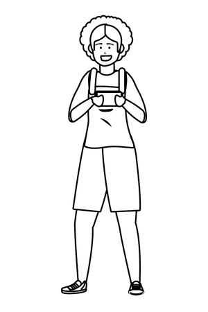 Millennial person using smartphone texting checking social media oralls afro  black and white  vector illustration graphic design Archivio Fotografico - 121664497