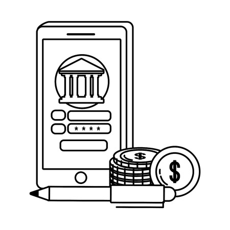Digital banking services online tools currency deposit electronic transaction smartphone password security black and white vector illustration graphic design Ilustrace