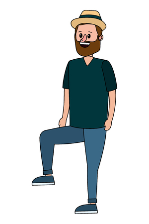 man body right leg raised cartoon vector illustration graphic design Imagens - 122866858