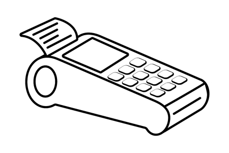 Technology work office dataphone equipment service productive isolated black and white vector illustration graphic design