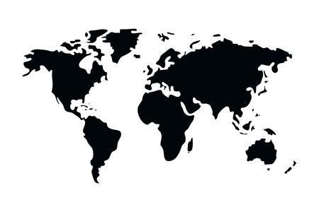 progettazione grafica dell'illustrazione di vettore del fumetto della mappa del mondo