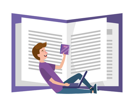 young man studying cartoon vector illustration graphic design