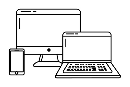 Technology devices online connected smartphone computer screen and laptop black and white vector illustration graphic design Ilustração