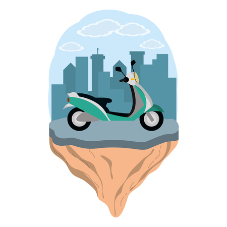 transportation concept scooter motorcycle in front city landscape cartoon vector illustration graphic design
