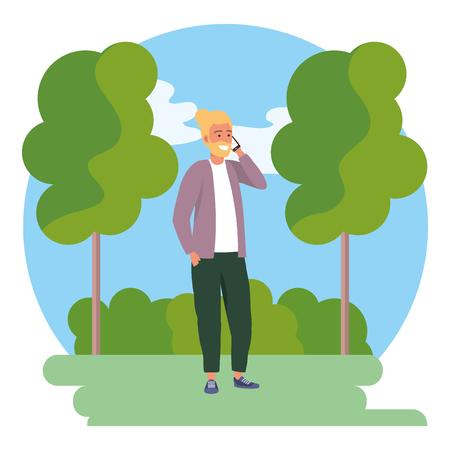 Tenue élégante de personne millénaire à l'aide de conversation d'appel de smartphone barbu homme blond chignon nature fond cadre rond arbres buissons vector illustration graphisme Vecteurs