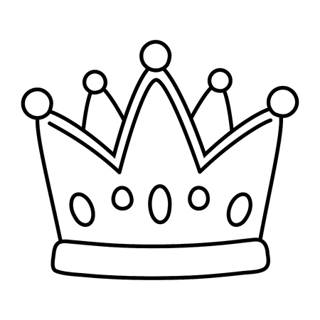 crown icon cartoon isolated black and white vector illustration graphic design