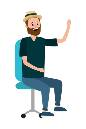 young sitting man at office chair cartoon vector illustration graphic design Imagens - 122867104