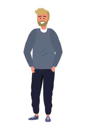 Millennial person stylish outfit bearded standing confident smiling sweater blond isolated vector illustration graphic design  イラスト・ベクター素材
