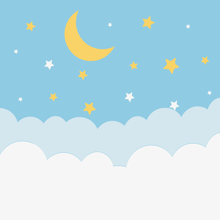 moon at night cartoon vector illustration graphic design Ilustrace