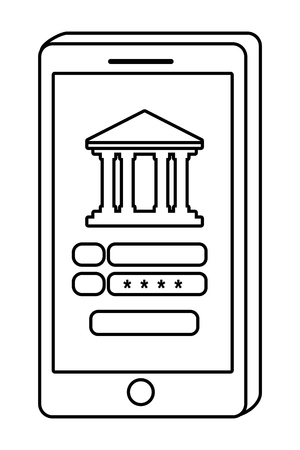 Digital banking services online tools smartphone screen password security isolated black and white vector illustration graphic design