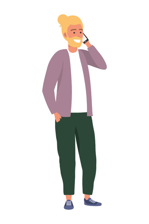 Millennial person using smartphone talking on the phone conversation smiling sweater blonde vector illustration graphic design  イラスト・ベクター素材