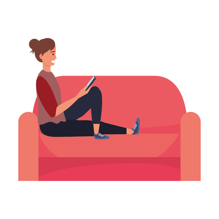 Millenial person stylish outfit sitting in couch using smartphone procrastination vector illustration graphic design