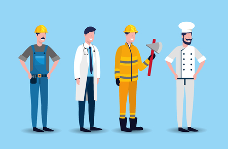 set worker people to labour day holiday vector illustration