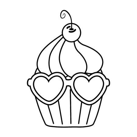 muffin with heart sunglasses icon cartoon black and white vector illustration graphic design