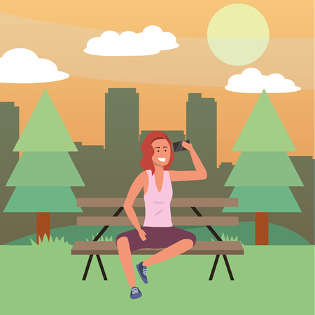 Millennial person sitting on park bench background