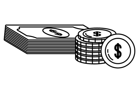Currency money bill and coin stack finance business planing black and white vector illustration graphic design Illustration