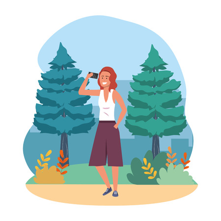 Millenial person stylish outfit using smartphone texting conversation redhead nature trees bushes background frame vector illustration graphic design