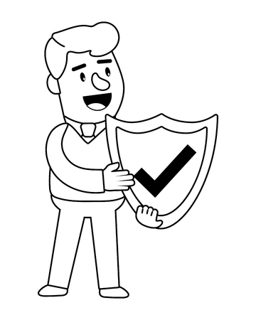 Consumer banking operations happy jovial smiling holding security shield client black and white vector illustration graphic design