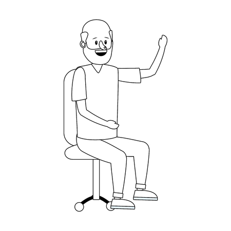 young sitting man over office chair cartoon vector illustration graphic design