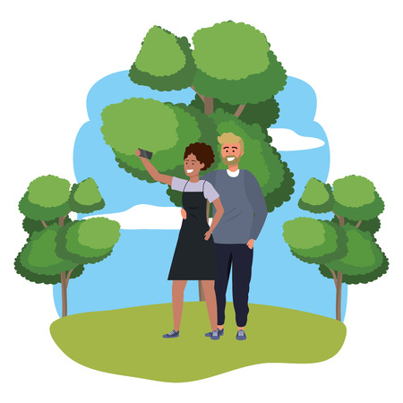 Millennial couple smartphone taking selfie stylish outfit sweater and apron nature background splash frame vector illustration graphic design