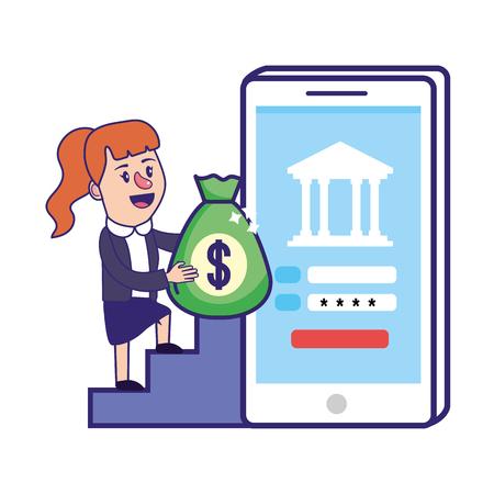 Businesswoman banking planification financière smartphone informations sécurisées mot de passe sac d'argent vector illustration graphic design