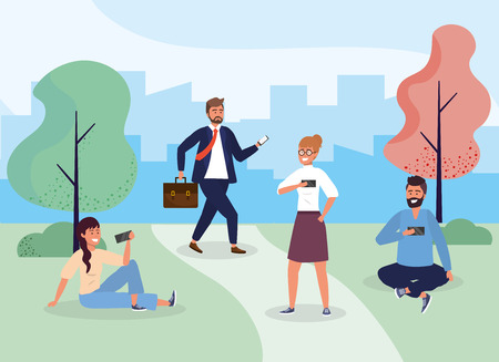 women and men with hairstyle in the park with smartphone vector illustration Stock Illustratie