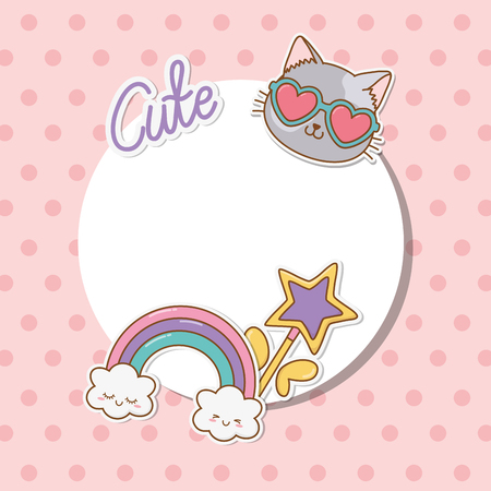 circular frame with stickers kawaii vector illustration design