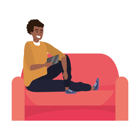 Millennial person sitting with smartphone taking selfie texting smiling living room couch vector illustration graphic design Ilustração