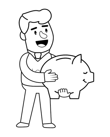 Consumer banking operations happy jovial smiling holding piggybank savings client isolated black and white vector illustration graphic design
