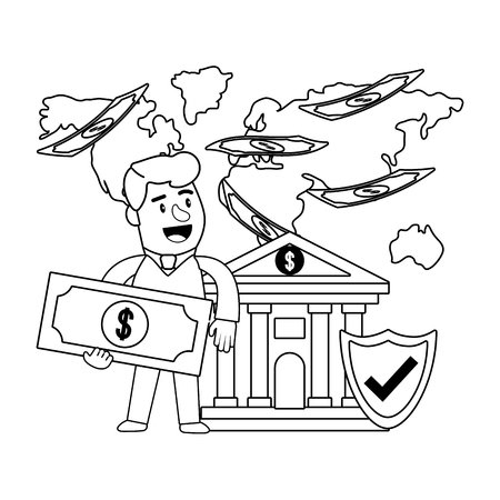 Consumer banking operations happy jovial smiling holding money bill client bank front black and white vector illustration graphic design