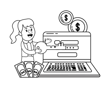 Businesswoman banking financial planning laptop secure information password black and white vector illustration graphic design