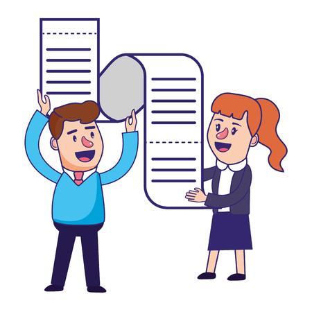 Banking teamwork financial planning transaction paper receipt motivated vector illustration graphic design