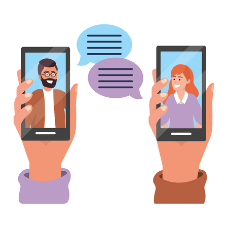 Hands holding smartphone tech video call live chat text bubbles vector illustration graphic design Çizim