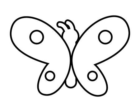 buttlerfly icon cartoon isolated black and white vector illustration graphic design