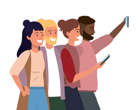 Millenial diverse group taking selfie smiling happy together wearing sweaters vector illustration graphic design