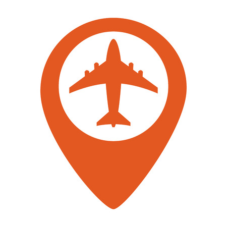 transportation concept airplane gps location cartoon vector illustration graphic design