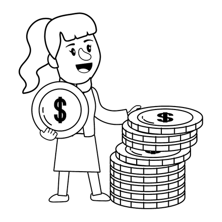 Businesswoman banking financial planning holding money coin stack black and white vector illustration graphic design