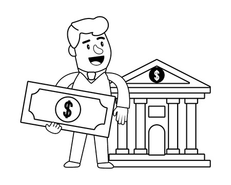 Consumer banking operations happy jovial smiling holding money bill client bank front black and white vector illustration graphic design Banco de Imagens - 122868349