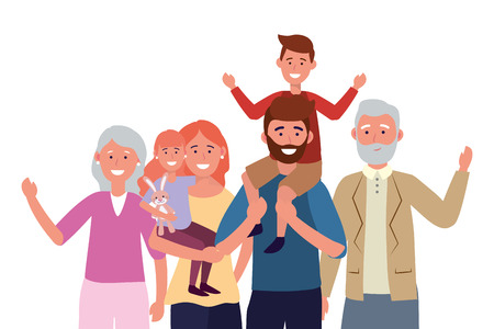 family avatar cartoon character portrait vector illustration graphic design Illustration