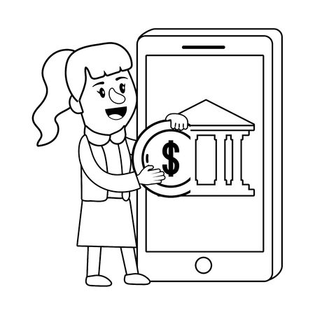 Businesswoman banking financial planning smartphone deposit money coin currency black and white vector illustration graphic design