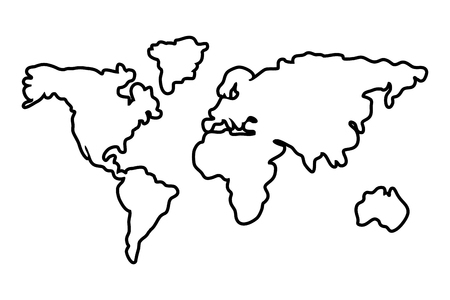 Worldwide map outline continents america asia europe africa oceania isolated black and white vector illustration graphic design